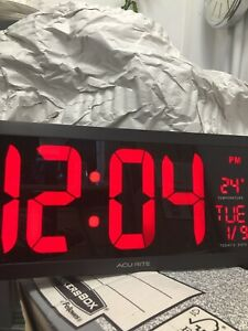 """Acurite Digital Clock 18"""" LED Electronic Wall Temperature Reading Black"""