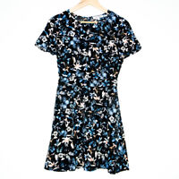 Miss Shop Womens Multicolour Floral and Butterfly Mini Short Sleeve Dress Size 6