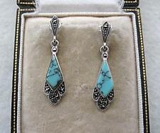Deco Inspired Genuine Turquoise & Marcasite Silver Earrings