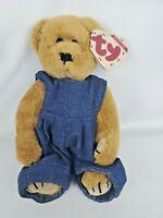 TY Beanie Babies Gilbert Attic Treasures Blue Jeans Teddy Bear