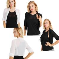 Chiffon Shrug Women Sheer Mesh Half Sleeve Crop Top Cardigan Bolero Shrug Jacket