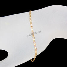24K Yellow Gold Filled Unisex Bracelet Charm Chain Link Fashion Bangle Jewelry