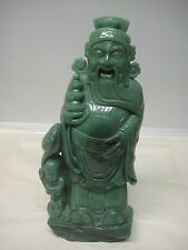 """Green Jade Statue of a Buddha, Wise Man with a Child 17"""""""