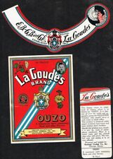 Unused 1940s ILLINOIS Chicago National Cordial LA GOUDES OUZO Label Set