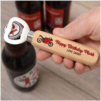 PERSONALISED Motorbike Biker Bottle Opener Birthday Gift for Dad Grandad Son Him