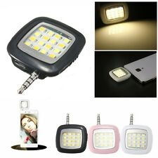 NERO 16 LED Fotocamera Smart SELFIE riempire luce flash per iOS Android iPhone 5S / 6 +