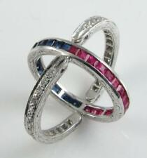 9K 9CT WHITE GOLD NIGHT & DAY RUBY SAPPHIRE DIAMOND FLIP ART DECO RING SIZE L