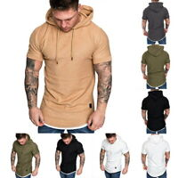 US Mens Hoodie Short Sleeve T-Shirts Slim Fitness Gym Blouse Tops Muscle Tops h8