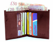 MENS RFID SAFE LEATHER ULTRA SLIM MINI CREDIT CARD NOTE CASE WALLET BROWN 122