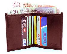 Para hombres Cuero seguro RFID Ultra Delgado Mini Nota de tarjeta de crédito Estuche Billetera Marrón 122