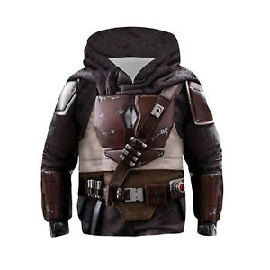 Star Wars The Mandalorian Kids Hoodie Sweatshirt Costume Cosplay Coat Pullover