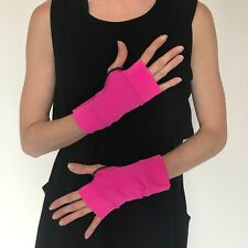 Womens Short Costume Gloves Pink PVC Shiny Arm Cuffs Wet Look Latex Halloween O1