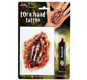 Torn Hand Halloween Fancy Dress Fake Scar Tattoos Bloody Scab Zombie Makeup