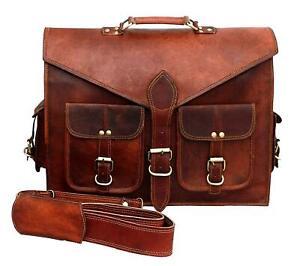 Vintage Leather Laptop Bag Messenger Shoulder Briefcase Men's Genuine Brown Goat