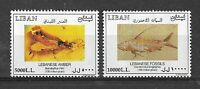 Liban Lebanon 2002 High Values Stamps MNH - Geology Stones Fossils Amber Fish