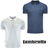 Lambretta Polo Shirts Geometric Pattern Mens Cotton Soft Lightweight UK S-4XL