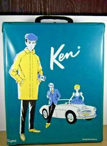 Ken Doll vinyl Carrying Case teal vintage 1962 Mattel Ponytail Barbie