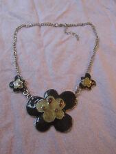 "Silver Tone & Brown Enamel Flower Statement Chain Necklace - 20-22"" long"
