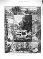 Original Old Antique Print 1883 Jesmond Dene Public Park Newcastle-On-Tyn 19th