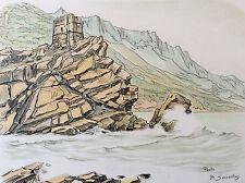 Benjamin Sarraillon (1902-1989) Corse Porto tour génoise lithographie France