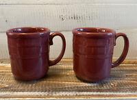 Set of 2 Longaberger Pottery Paprika Red Woven Traditions Horizon Hope Mugs