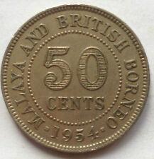 Malaya & British Borneo 50 cents 1954 coin