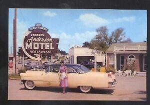MURFREESBORO TENNESSEE ANDERSON'S RESTAURANT 1956 CADILLAC CARS POSTCARD COPY