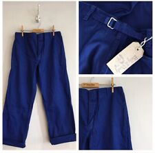 Vintage Blue Cotton Cinch Back Herringbone Chore Workwear Trousers Pants W34""