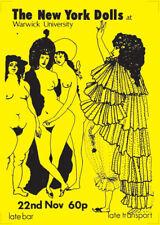 New York Dolls poster - Live at Warwick University 1972 rare large size reprint