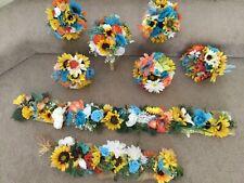 Silk flower wedding bridal bouquet package flowers Coral Teal sunflower