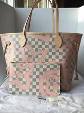 Auth New Louis Vuitton Neverfull MM Damier Azur Tahitienne Bag 2017 Limited