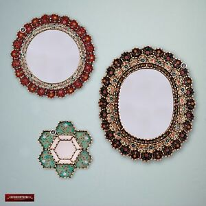 Round & Oval Mirror Set 3 for wall decor, Decorative Accent Mirror set from Peru