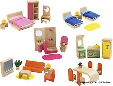 VOILA TOY wooden Dolls House FURNITURE 6 ROOMS pretend play CHILD'S GIFT **NEW