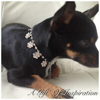 Floral Rhinestone Dog Pet Bling jewellery Collar Small Length 21cm+9cm extender