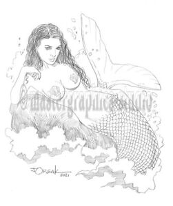 Sexy MERMAID original fantasy pin-up art by JOE ORSAK