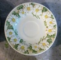 Vtg. Set of 4 Metlox Poppytrail Sculptured Daisy Cup Saucers Made in California