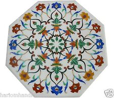 "24"" White Marble Side Table Top Rare Mosaic Inlaid Marquetry Patio Decor H1474"