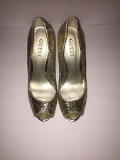 Guess Gold Open Toe Heels Size 8M