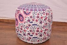 Pink Blue Indian Handmade Pouffe Ottoman Cover FootStool Floor Cushion Bean Bag