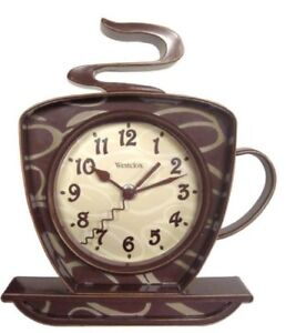 "Westclox 8"" Analog Quartz Coffee Cup Brown Wall Clock 32038"