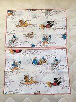 2 taies d'oreiller Disney CTI France Mickey Dingo Donald Bambi Cochon vintage