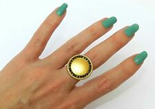 Hammered Gold Plated 24k Disk Coin Circle Ring Set w Black Rhinestones Sz 8