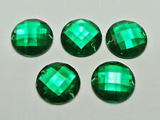 50 Green Acrylic Flatback Sewing Rhinestone Round Button 18mm Sew on beads