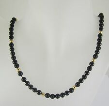 BEAUTIFUL LADIES 14K YELLOW GOLD ONYX BEAD STYLE NECKLACE 22.6G 20""
