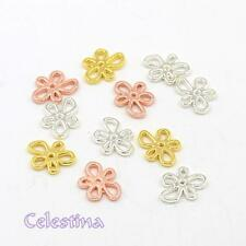10 x Alloy Flower Charms - Daisy Charms Rose Gold Silver Mixed Colours - TS357