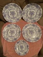 """4 VTG Arcopal 'China Blue' HONORINE 10 3/4"""" Scalloped Dinner Plates FRANCE +"""