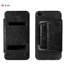 S-CH For Apple iPhone 4 4s Phone Case S-View Flip PU Leather Case Stand Cover