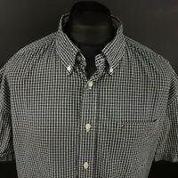 Tommy Hilfiger Mens Shirt XL Short Sleeve Black Regular Fit Check Cotton