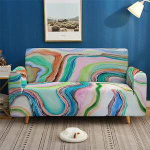 1/2/3/4Seater Abstract Marble Stretch Elastic Couch Sofa Cover Slipcover Protect