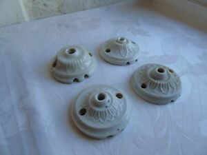 French antique vintage 4 of porcelain ceiling rose